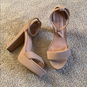 Tan Platform Sandal Heels 👡